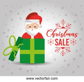 christmas poster with a cute santa claus gift for sale discount banner