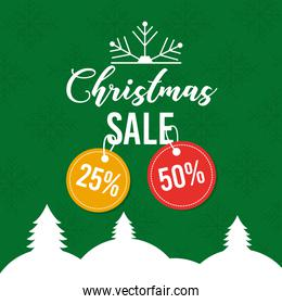 christmas sale poster greeting price tag offer