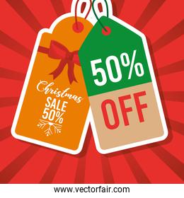christmas sale tag price 50 percent off marketing