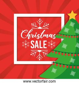 christmas sale poster tree decoration red background