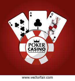 poker casino chip club game cards red design