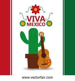 viva mexico potted cactus and guitar poster party