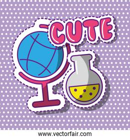 cute school globe and test tube with dots background