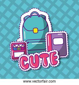 cute school backpack notebook crayons color geometrical background