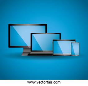 set of display laptop tablet computer and mobile phone template with blue screen