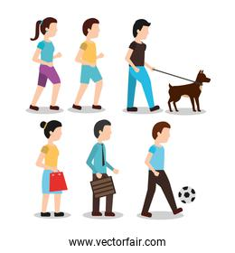 set people various activities different man walk woman shopping playing with ball