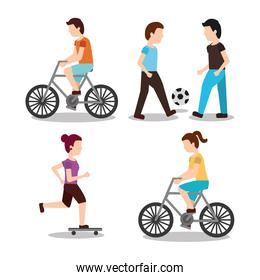 set people various activities rider bicycle playing ball and skater scene