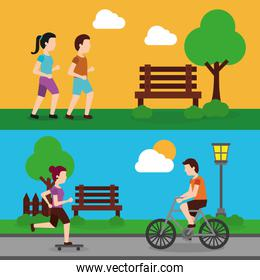 set people various activities couple runner and man riding bicycle, woman skater