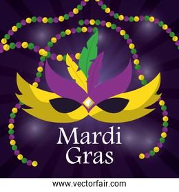 mardi gras carnival mask with feathers and beadss blurred background