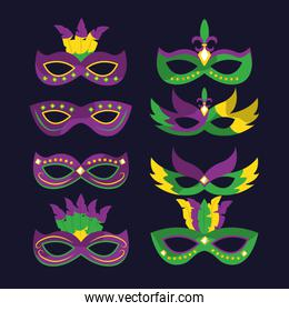 mardi gras carnival masks with feathers differents style