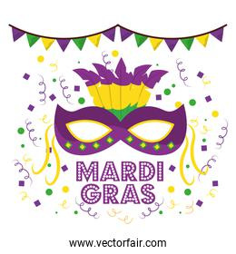 mardi gras carnival masks with feathers garland confetti decoration white background