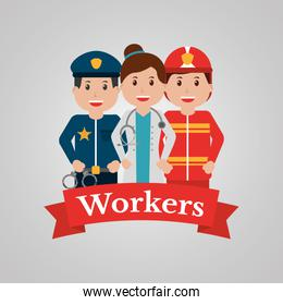 workers group people profession employee cartoon banner