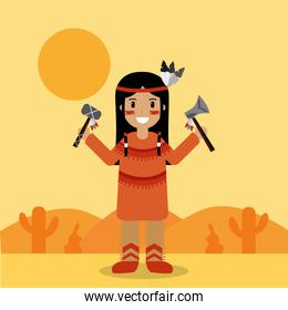 native american indian character holding tomahawk and axe