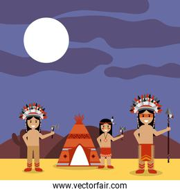 native american indians with teepee and night landscape