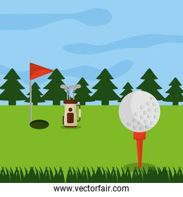 golf course hole flag ball and pine tree forest