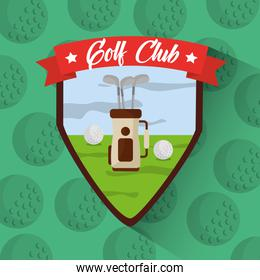 golf club bag with clubs balls filed badge
