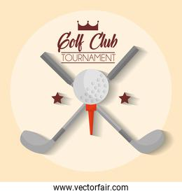 golf club tournament clubs cross and ball poster