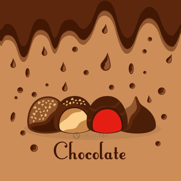 chocolate candies drops melted dessert card