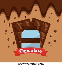 chocolate bottle bar and melted drops
