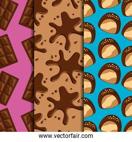 sweets dessert food chocolate bars and splash drips candies vertical banners