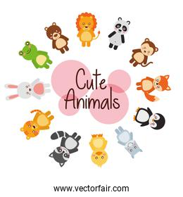 set cute animals wildlife fauna