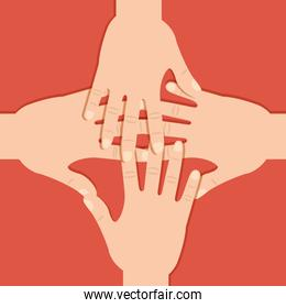 teamwork hands connection united expression