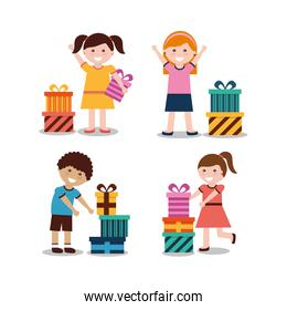 group of kids with nicely wrapped gift boxes