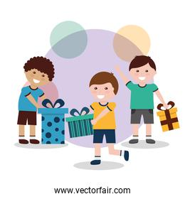 kids male smiling with gift boxes