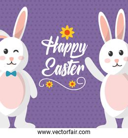 happy easter bunnies waving and wink expression
