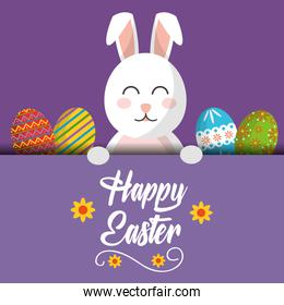 happy easter bunny greeting card with colored eggs