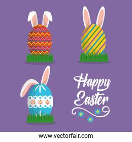 rabbit ears painted eggs happy easter card