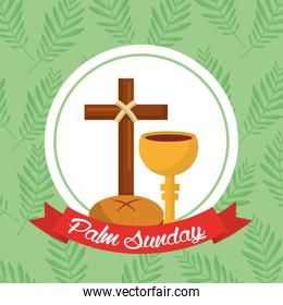 palm sunday bread cross cup ribbon green background