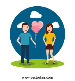 couple happy man holding balloons and happy woman