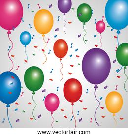 poster multicolored balloons flying confetti decoration