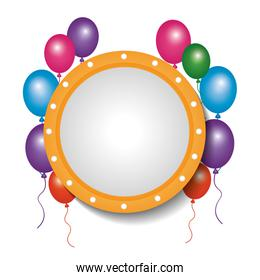 card decoration empty frame balloons party