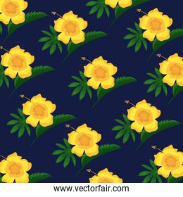 hibiscus flower tropical leaves decoration seamless pattern