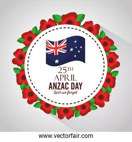 anzac day lest we forget badge flowers border decoration