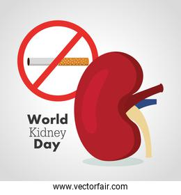 world kidney day card prohibits the cigarrette