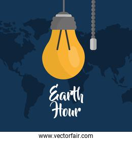 earth hour bulb energy ecology map background