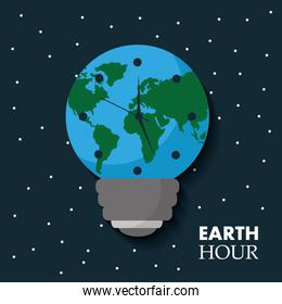 earth hour globe map bulb clock celebration annual