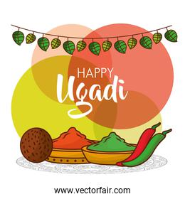 happy ugadi greeting card with decorative spices pepper and coconut