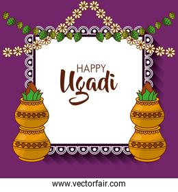happy ugadi hindu new year greeting card pot with coconut flowers