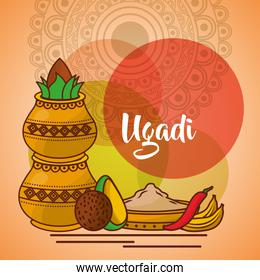 uappy ugadi template greeting card set ccessories pot coconut