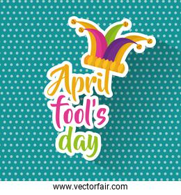 april fools day greeting card colored jester hat