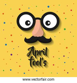 april fools cartoon face with funny glasses and mustache