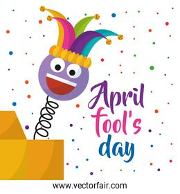 april fools day greeting card emoji smiling with hat and confetti