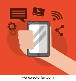 hand holding smartphone social media icons