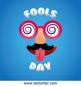 fools day cheerful mask glasses mustache nose tongue out