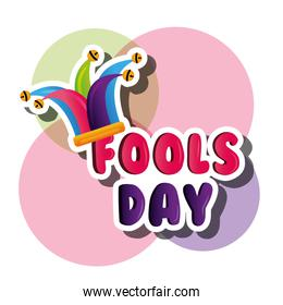 fools day card with jester hat colorful decoration