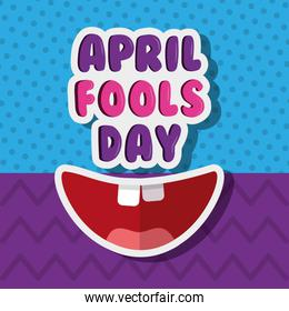 funny smiling mouth april fools day dotted zig zag background